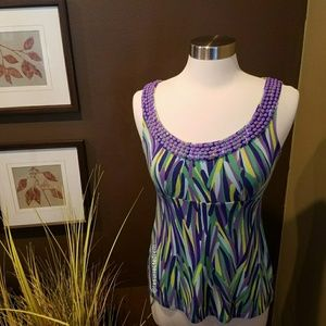BODEN Beaded Print Tank Top Size 8